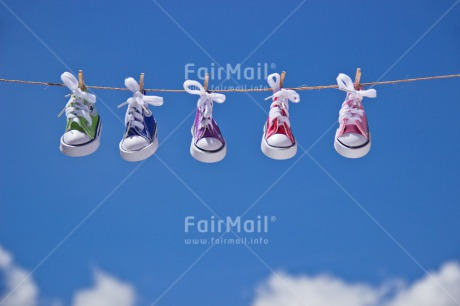 Fair Trade Photo Blue, Colour image, Colourful, Friendship, Hanging, Love, Multi-coloured, Outdoor, Peru, Shoe, Sky, South America, Together, Valentines day, Wood