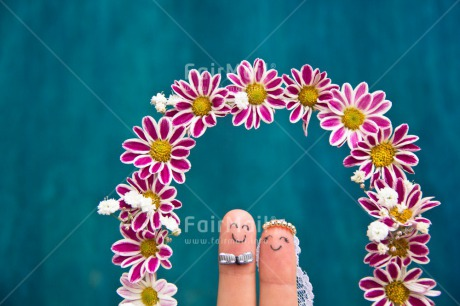 Fair Trade Photo Blue, Bride, Colour image, Couple, Finger, Flowers, Funny, Groom, Horizontal, Love, Marriage, Peru, South America, Together, Two, Wedding