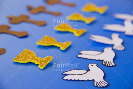 Fair Trade Photo Activity, Animals, Bird, Blue, Christianity, Colour image, Communion, Confirmation, Cross, Flying, Horizontal, Peru, Pigeon, Religion, South America, White