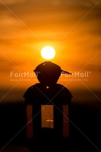 Fair Trade Photo Colour image, Condolence/Sympathy, Evening, Lantern, Peru, Shooting style, Silhouette, South America, Sun, Sunset, Vertical