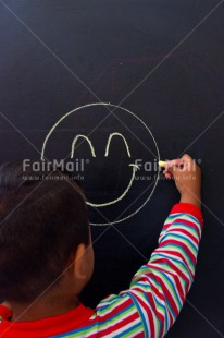 Fair Trade Photo Activity, Blackboard, Chalk, Colour image, Drawing, Emotions, Happiness, Happy, One, One boy, One child, People, Peru, Smile, Smiling, South America, Vertical