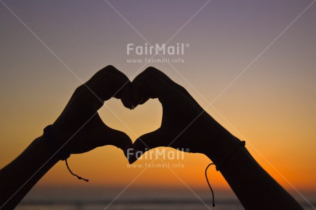 Fair Trade Photo Beach, Colour image, Colourful, Evening, Hand, Hands, Heart, Horizontal, Light, Love, People, Peru, Sea, Shooting style, Silhouette, Sky, South America, Sun, Sunset, Thinking of you