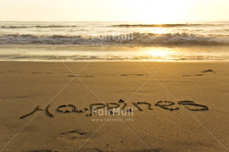 Fair Trade Photo Beach, Colour image, Emotions, Happiness, Happy, Horizontal, Letters, Peru, Sand, Sea, South America, Sunset, Water