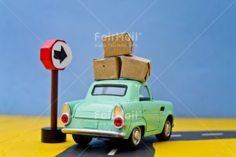 Fair Trade Photo Blue, Box, Car, Colour image, Horizontal, Moving, New home, Peru, Sign, South America, Street, Transport, Welcome home, Yellow