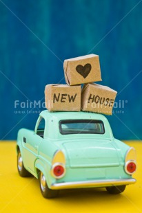 Fair Trade Photo Blue, Box, Car, Colour image, Heart, Home, Moving, New home, Peru, South America, Transport, Vertical, Welcome home, Yellow