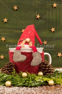 Fair Trade Photo Christmas, Christmas decoration, Colour image, Gnome, Green, Peru, Pine, Red, Santaclaus, South America, Star, Vertical