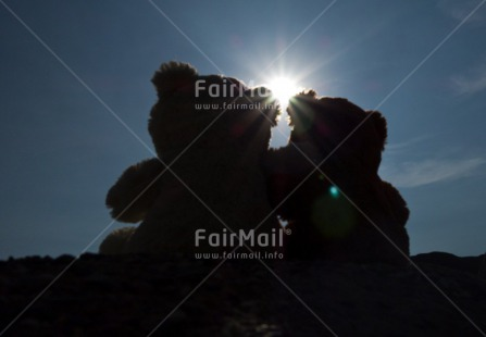 Fair Trade Photo Backlit, Blue, Care, Colour image, Condolence/Sympathy, Cute, Evening, Friendship, Horizontal, Light, Love, Outdoor, Peru, Silhouette, Sky, South America, Summer, Sunset, Teddybear, Together