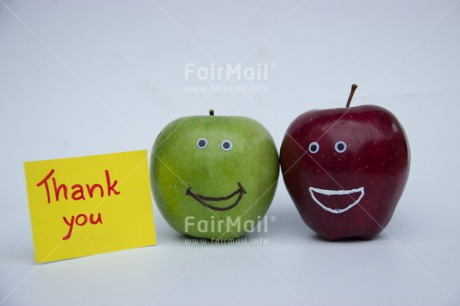 Fair Trade Photo Apple, Closeup, Colour image, Food and alimentation, Fruits, Funny, Get well soon, Horizontal, Peru, Shooting style, Smile, South America, Studio, Thank you