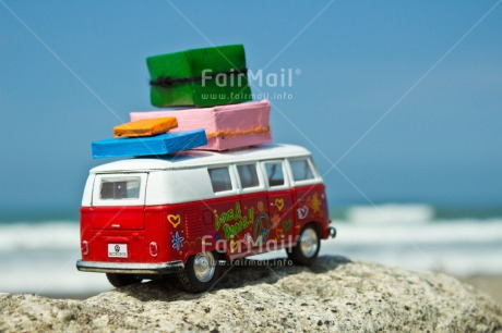 Fair Trade Photo Car, Colour image, Good luck, Good trip, Holiday, Horizontal, Moving, New home, Peru, South America, Suitcase, Transport, Travel
