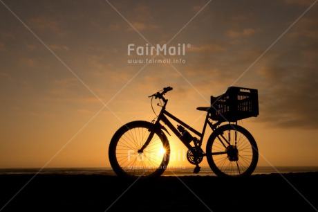 Fair Trade Photo Activity, Beach, Bicycle, Black, Colour image, Horizontal, Ocean, Peru, Sea, Shooting style, Silhouette, South America, Sunset, Transport, Travel, Travelling