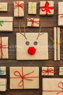 Fair Trade Photo Brown, Christmas, Colour image, Crafts, Gift, Nose, Peru, Red, Reindeer, Ribbon, Seasons, South America, Table, Winter, Wood