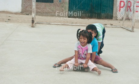 Fair Trade Photo Activity, Colour image, Day, Emotions, Friendship, Happiness, Horizontal, Outdoor, People, Peru, Playing, Smiling, South America, Together, Two children