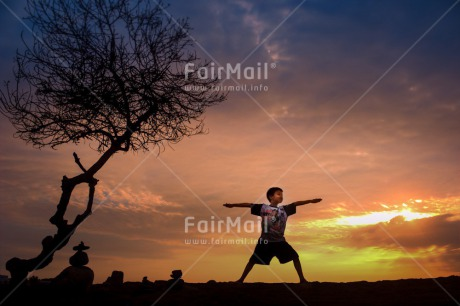 Fair Trade Photo Colour image, Evening, Health, Horizontal, One boy, Outdoor, Peace, People, Peru, Shooting style, Silhouette, South America, Tree, Wellness, Yoga