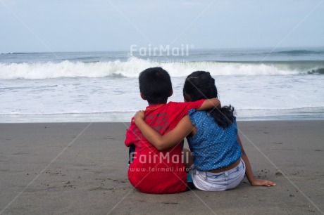 Fair Trade Photo Activity, Beach, Colour image, Cooperation, Emotions, Friendship, Happiness, Horizontal, Love, People, Peru, Playing, Sea, South America, Summer, Together, Two children