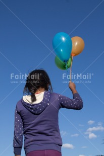 Fair Trade Photo Balloon, Colour image, Emotions, Happiness, One girl, People, Peru, South America, Summer, Vertical