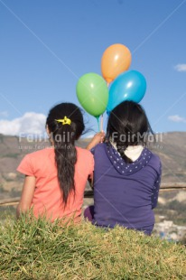 Fair Trade Photo Balloon, Colour image, Friendship, Peru, South America, Together, Two girls, Vertical