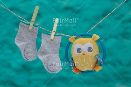 Fair Trade Photo Birth, New baby, Owl, Sock, Washingline