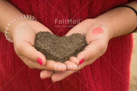 Fair Trade Photo Activity, Colour image, Giving, Hand, Heart, Horizontal, Love, Mothers day, Peru, Sand, South America, Valentines day