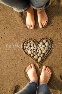 Fair Trade Photo Beach, Colour image, Foot, Friendship, Heart, Love, Peru, South America, Stone, Together, Valentines day, Vertical
