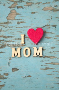 Fair Trade Photo Blue, Colour image, Heart, Letters, Love, Mothers day, Peru, Red, South America, Text, Vertical, Wood