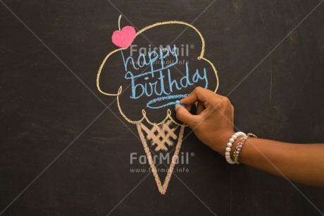 Fair Trade Photo Activity, Birthday, Blackboard, Celebrating, Chalk, Cherry, Colour image, Drawing, Food and alimentation, Hand, Horizontal, Ice cream, Peru, Seasons, South America, Summer, Text