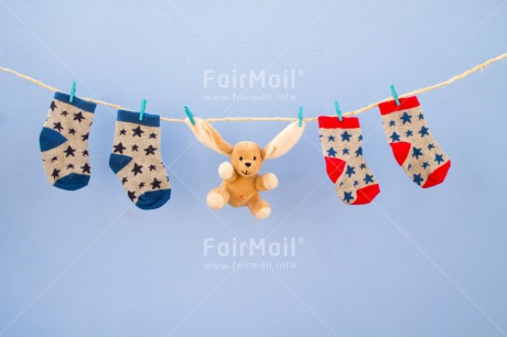 Fair Trade Photo Animals, Birth, Boy, Clothing, Colour image, Hanging, Horizontal, New baby, Peg, People, Peru, Rabbit, Sock, Son, South America, Toy
