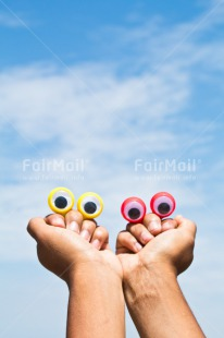 Fair Trade Photo Colour image, Eye, Friendship, Funny, Hands, Outdoor, Peru, Sky, South America, Two, Vertical