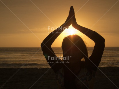 Fair Trade Photo Activity, Beach, Clouds, Colour image, Evening, Horizontal, Meditating, One girl, Outdoor, People, Peru, Sea, Sky, South America, Spirituality, Sunset, Yoga