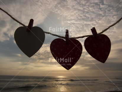 Fair Trade Photo Backlit, Beach, Clouds, Colour image, Heart, Horizontal, Love, Peru, Sea, Silhouette, Sky, South America, Valentines day, Washingline, Water