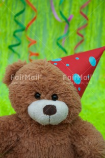 Fair Trade Photo Birthday, Colour image, Decoration, Green, Hat, Horizontal, Party, Peru, Red, South America, Studio, Teddybear