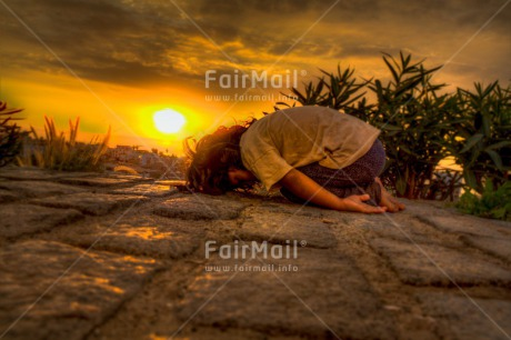 Fair Trade Photo Activity, Colour image, Evening, Horizontal, One girl, Outdoor, People, Peru, South America, Sunset, Yoga