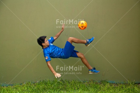 Fair Trade Photo Activity, Ball, Colour image, Horizontal, Jumping, One boy, People, Peru, Soccer, South America, Sport