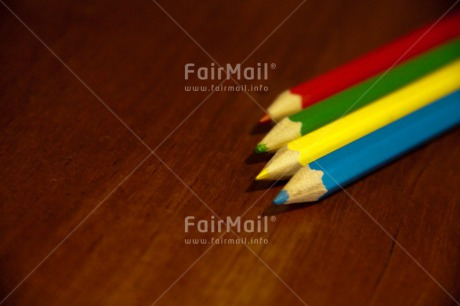 Fair Trade Photo Colour image, Crayon, Desk, Exams, Good luck, Horizontal, Multi-coloured, Peru, School, South America, Success, Table, Wood