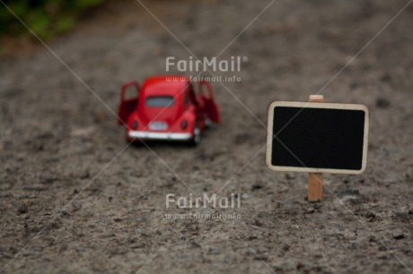 Fair Trade Photo Blackboard, Car, Colour image, Father, Fathers day, Holiday, Horizontal, Message, Peru, Red, Road, South America, Street, Toy, Transport, Travel