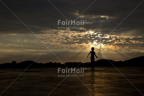 Fair Trade Photo 5_-10_years, Activity, Child, Clouds, Colour image, Evening, Horizontal, Peru, Playing, Shooting style, Silhouette, Sky, South America, Sunset, Walking