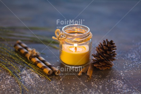 Fair Trade Photo Blue, Branch, Candle, Christmas, Colour image, Dailylife, Flame, Glass, Horizontal, Indoor, Light, Peru, Pine, Seasons, Snow, South America, Winter