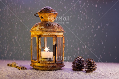 Fair Trade Photo Candle, Christmas, Colour image, Flame, Horizontal, Indoor, Lantern, Light, Peru, Pine, Seasons, Snow, South America, Winter