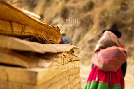 Fair Trade Photo Activity, Clothing, Colour image, Culture, Day, Horizontal, Latin, Mountain, Outdoor, People, Peru, South America, Traditional clothing, Walking, Woman, Wood