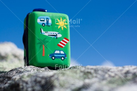 Fair Trade Photo Activity, Blue, Colour image, Day, Holiday, Horizontal, Mountain, Nature, Outdoor, Peru, Seasons, Sky, South America, Stone, Suitcase, Summer, Tourism, Travel, Travelling