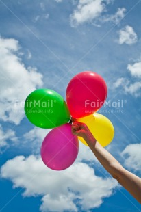 Fair Trade Photo Activity, Balloon, Birthday, Blue, Celebrating, Clouds, Colour image, Colourful, Friendship, Hand, Holding, Multi-coloured, Peru, Sky, South America