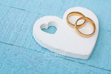 Fair Trade Photo Blue, Colour image, Gold, Heart, Horizontal, Love, Marriage, Peru, Ring, South America, Two, Wedding, White, Wood