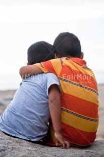 Fair Trade Photo Activity, Brother, Colour image, Embracing, Family, Friend, Friendship, Hugging, People, Peru, Sitting, South America, Two, Two boys, Two children, Two people, Vertical