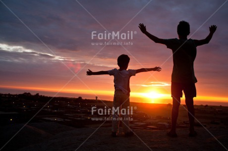 Fair Trade Photo Activity, Beach, Brother, Colour image, Colourful, Embracing, Evening, Family, Freedom, Friend, Friendship, Horizontal, Hugging, Light, People, Peru, Shooting style, Silhouette, Sky, South America, Standing, Sun, Sunset, Two, Two boys, Two children, Two people