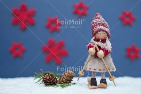 Fair Trade Photo Adjective, Blue, Christmas, Christmas decoration, Colour, Colour image, Doll, Horizontal, Object, Pine cone, Place, Red, Skiing, Snow, South America