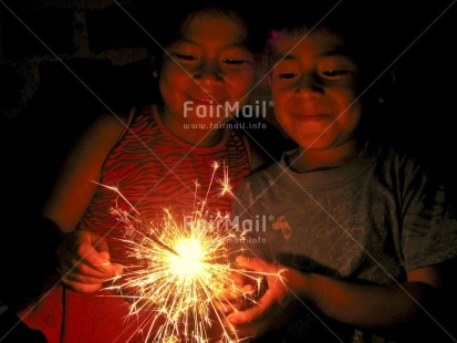 Fair Trade Photo Brother, Christmas, Colour image, Cute, Family, Firework, Friendship, Horizontal, Indoor, New Year, Night, People, Peru, Sister, Smile, Smiling, South America, Together, Two children
