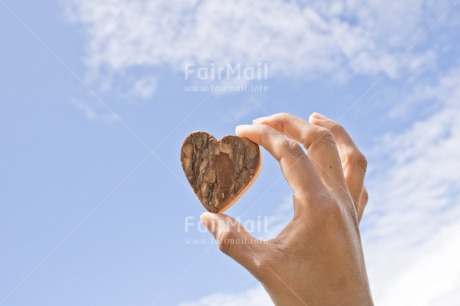 Fair Trade Photo Blue, Chachapoyas, Colour image, Hand, Heart, Horizontal, Love, Marriage, Mothers day, Peru, Sky, South America, Thinking of you, Valentines day, Wedding, Wood