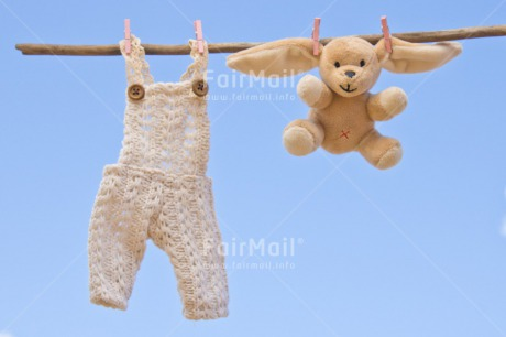 Fair Trade Photo Birth, Blue, Chachapoyas, Cloth, Clouds, Colour image, Hanging wire, Horizontal, New baby, Peg, Peluche, Peru, Sky, South America, White