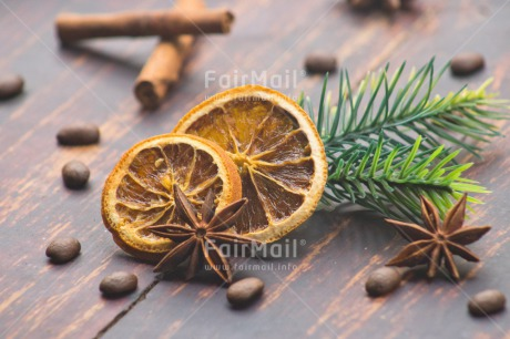 Fair Trade Photo Adjective, Brown, Christmas, Christmas decoration, Cinnamon, Coffee, Colour, Colour image, Drink, Food and alimentation, Fruits, Horizontal, Object, Orange, Pine, Place, South America, Wood