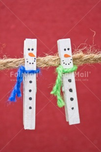 Fair Trade Photo Adjective, Christmas, Christmas decoration, Colour, Colour image, Object, Peg, Place, Red, Snowman, South America, Vertical, Washingline