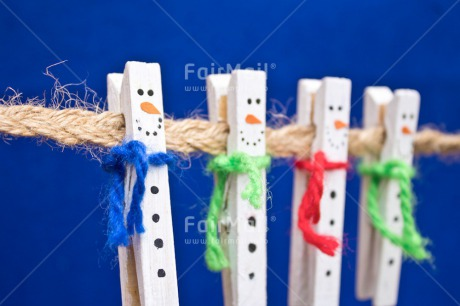 Fair Trade Photo Adjective, Blue, Christmas, Christmas decoration, Colour, Colour image, Horizontal, Object, Peg, Place, Snowman, South America, Washingline